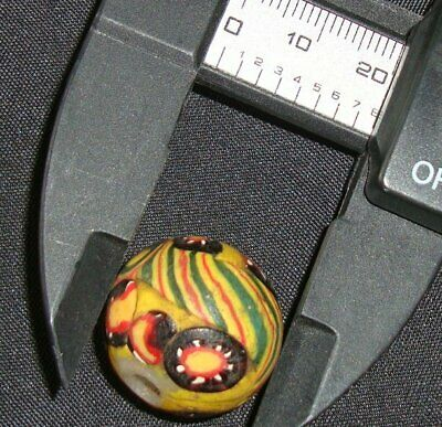 Ancient Islamic Eastern Beautiful Striped  Mosaic Glass Bead Art Pendant 616 12