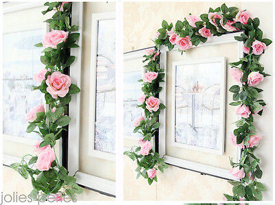 2.25m Artificielle Rose Guirlande de soie Fleur Mariage Party Home Decor 3
