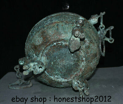 "14 ""Chinesische Dynastie Antik Bronze Ware 3 Tier Griff Kette Pot Jar Crock 8"