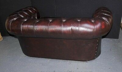 Vintage Leather English Chesterfield Sofa Deep Button Couch 4