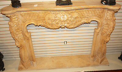 Massive French Carved Italian Marble Fireplace Mantel Mantle Surround 1940s WOW! 10