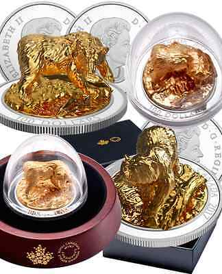 2017 Sculpture Majestic Canadian Animals Grizzly Bear PureSilver GoldPlated Coin 2