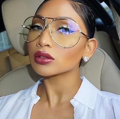 dbdca5cc26 ... Aviator Oversized Large Poshe Clear Lens Twirl Metal Women Vintage  Eyeglasses 2