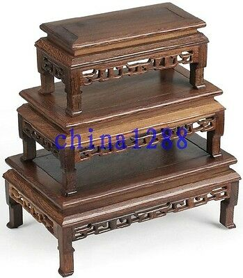 3Pc Unique Suiseki Display*rosewood*carved For Vase&bonsai Table 2