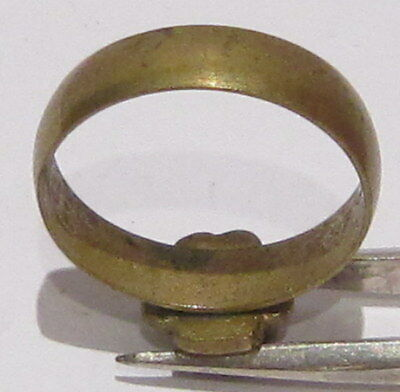 VINTAGE NICE BRONZE RING WITH GREEN STONE FROM THE EARLY 20th CENTURY # 1B 7