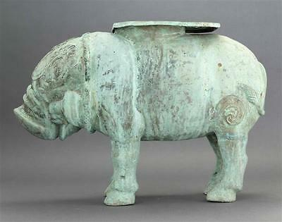 "THAI BRONZE GARDEN SEAT In the form of a caparisoned pig. Length 22.5"". Lot 606 2"