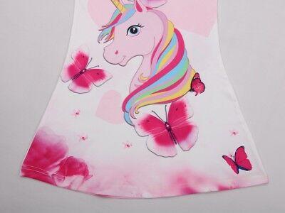 Unicorn Butterfly Girls Kids Pyjamas Nighties Night Wear Party Dress 4