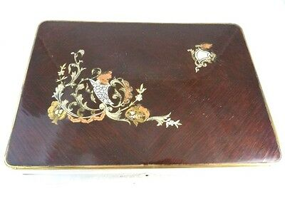 Antique French Wooden Dressing Box Mother Of Pearl Inlay Mirror Mahogany C1870 2