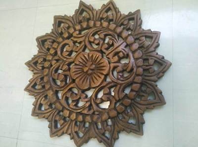 "12"" Vintage Carved Wood Wall Decor Panel Flowers Wall Art Beautiful Gift #2 5"