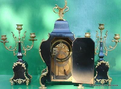 ANTIQUE JAPY FRERES 8 DAY ORMOLU ROCOCO BOULLE TYPE CANDELLABRAS CLOCK SET 1880c 10