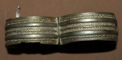 Antique Greek folk silver hinged cuff bracelet 11