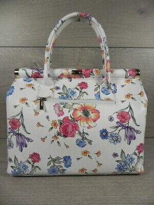 ECHT LEDER ital XL Handtasche Damen Tasche Weiß Blumen GL300WB