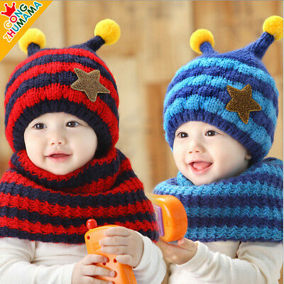 13a70946 FASHION WINTER WARM Girls Boys Baby-Cap-Kids-Hat-and-Scarf-Set-Five ...