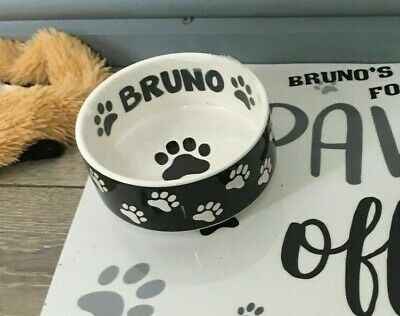 2x PERSONALISED DOG BOWL STICKER DISH CUSTOM PET PUPPY FOOD WATER TREAT 5