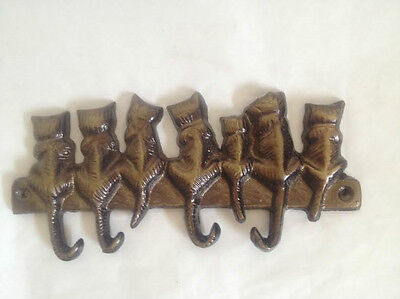 Vintage Solid Brass (4) Cat Key Hooks & 7 Cats Free Shipping 2
