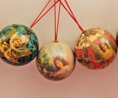 5 Vintage Paper Mache Christmas Ornaments Angel Round balls 5 Set 3