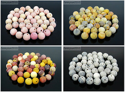 Wholesale Matte Frosted Natural Gemstone Round Loose Beads 4mm 6mm 8mm 10mm 12mm 4