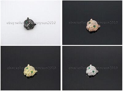 Zircon Gemstones Pave Leopard Head Bracelet Connector Charm Beads Silver Gold 3