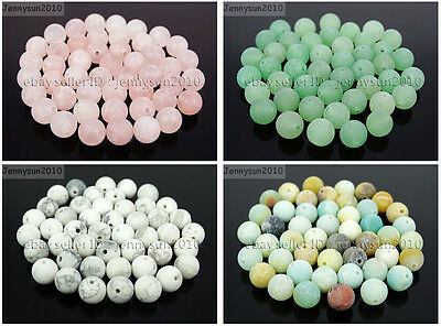 Wholesale Matte Frosted Natural Gemstone Round Loose Beads 4mm 6mm 8mm 10mm 12mm 2