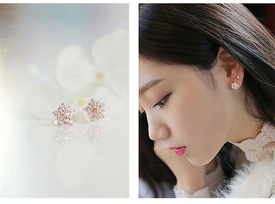 1Pair Fashion Women Crystal Rhinestone Ear Stud Snow Flower Earrings Jewelry