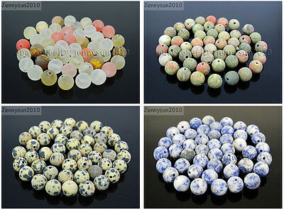 Wholesale Matte Frosted Natural Gemstone Round Loose Beads 4mm 6mm 8mm 10mm 12mm 3