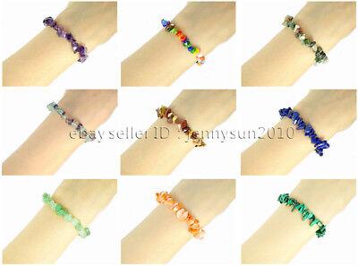Natural Gemstone 5-8mm Chip Beads Stretchy Bracelet Healing Reiki Chakra 4