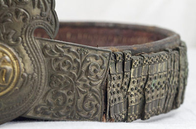 Amazing Silver & Gold Leather Ottoman Folk Belt Tile Buckle Antique Greek Balkan 10