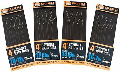 "Guru Bayonet Hair Rigs MWG - Barbless 4"" / 15"" - Hooks to Nylon"