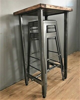 Cafe/Bistro/Bar/Poser Table and Stool Set. Industrial Steel /Reclaimed Wood 5