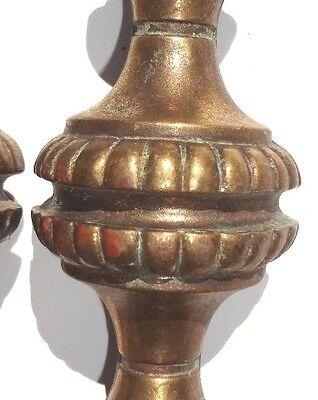 Vintage ART DECO Copper CABINET Drawer Pull Handle HARDWARE / Set of 4 3