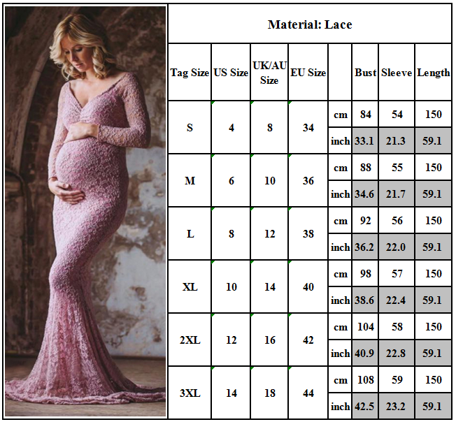 Maternity Women Lace Photography Long Pregnant Boho Maxi Gown Party Dress Props 12