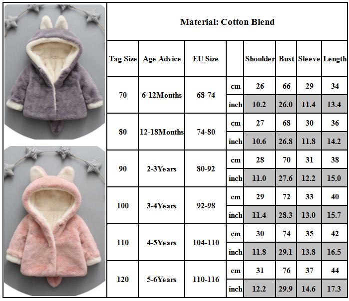Baby Kids Girls Winter Warm Faux Fur Ear Fleece Jacket Hooded Soft Coat Outwear 8