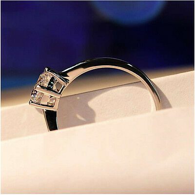5 ct White Sapphire Claw Ring 10KT White Gold Filled Wedding Rings Band Size4-12 5