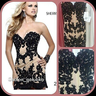 21187 Sherri Hill Black Crystal Lace Party Cocktail Prom Gown Dress Size USA 4 2