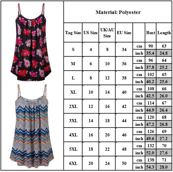 Boho Womens Ladies Cami Vest Swing Pleated Sleeveless Tank Tops Dress Size 8-24 8
