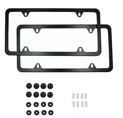 4 Hole Slim Black Stainless Steel Car License Plate Frame with Screw Caps 2pcs