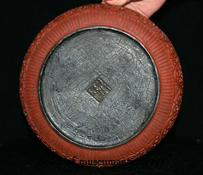 """9.6"""" Marked Old China Red Lacquerware Dynasty Hill River House jewelry Box 9"""