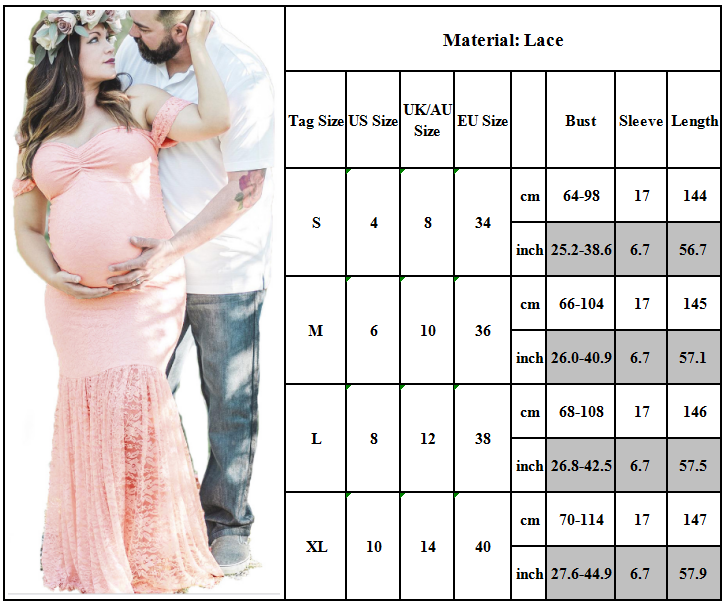Maternity Women Lace Photography Long Pregnant Boho Maxi Gown Party Dress Props 2
