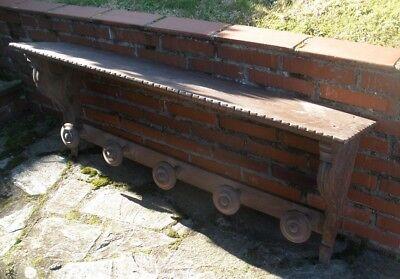 Antiguo Colgador, Perchero, Repisa de los Años 50 en madera de CASTAÑO