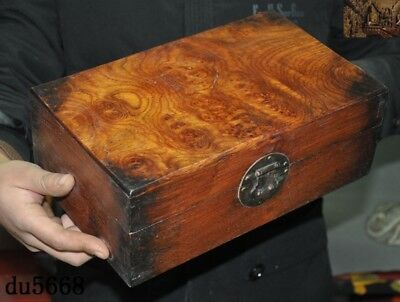 "12""Chinese dynasty Haunghuali Wood Hand carved Ancient Storage jewelry Box Boxes 4"