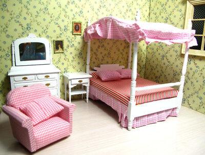 1/12 Dolls House Miniature Bedroom Kitchen Living Room Furniture Set Bed Cabinet 4