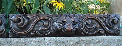 19C English Salvage Set 3 Carved Gothic Oak Griffin/Gargoyle Drawer-Front Panels 6