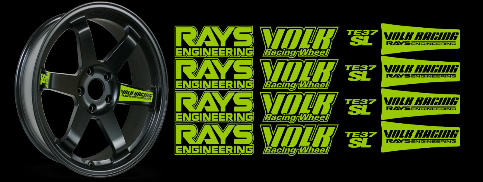 JDM Reflective RAYs VOLK Racing TE37SL Wheel 16 sticker decal Drift 5