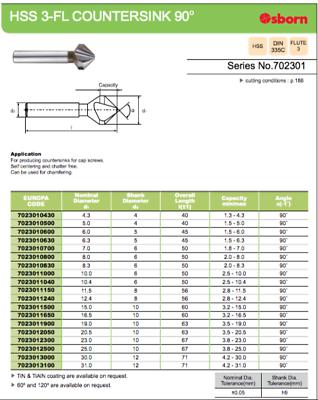 20.5mm x 90 DEGREE HSS COUNTERSINK TOOL EUROPA TOOL / OSBORN 7023012050  #11 5