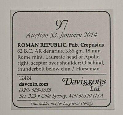 Pub. Crepusius. 82 BC. AR SILVER Denarius ROMAN REPUBLIC 3