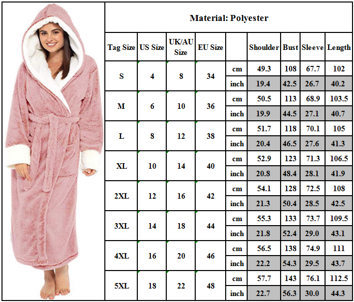 Women Dressing Gown Hoodie Nightwear Fluffy Soft Warm Winter Hooded Bath Robe 2
