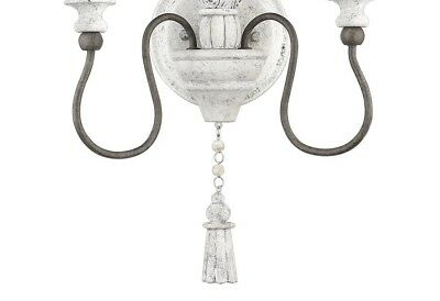 French Farmhouse Vintage-like Antiqued White Chic 2 Light Wall Sconce Rustic 4