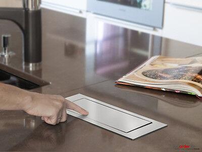 EVOline Backflip drehbare Steckdose Edelstahl mit USB Charger Küche Schreibtisch 3