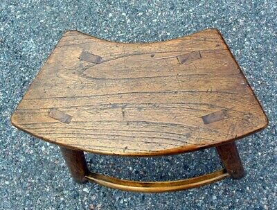 Antique Chinese Chestnut Bench Table Chair 18-19th C. Curved Seat 6