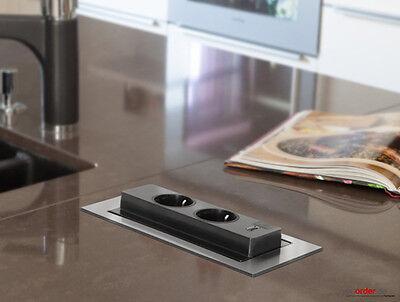 EVOline Backflip drehbare Steckdose Edelstahl mit USB Charger Küche Schreibtisch 2